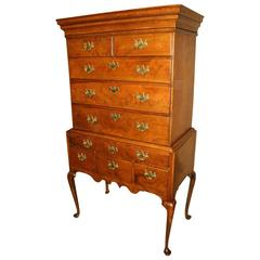 18th Century New England Queen Anne Maple Flat Top Highboy with Secret Drawer