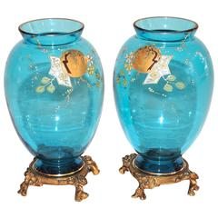 Pair of French Japonisme Blue Crystal Enamel Vases Attributed to Baccarat