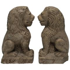 Tall Pair of Neoclassical Stone Lion Sculpture Bookends or Decorative Objects