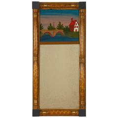 Classical Painted and Giltwood Mirror with Églomisé Panel