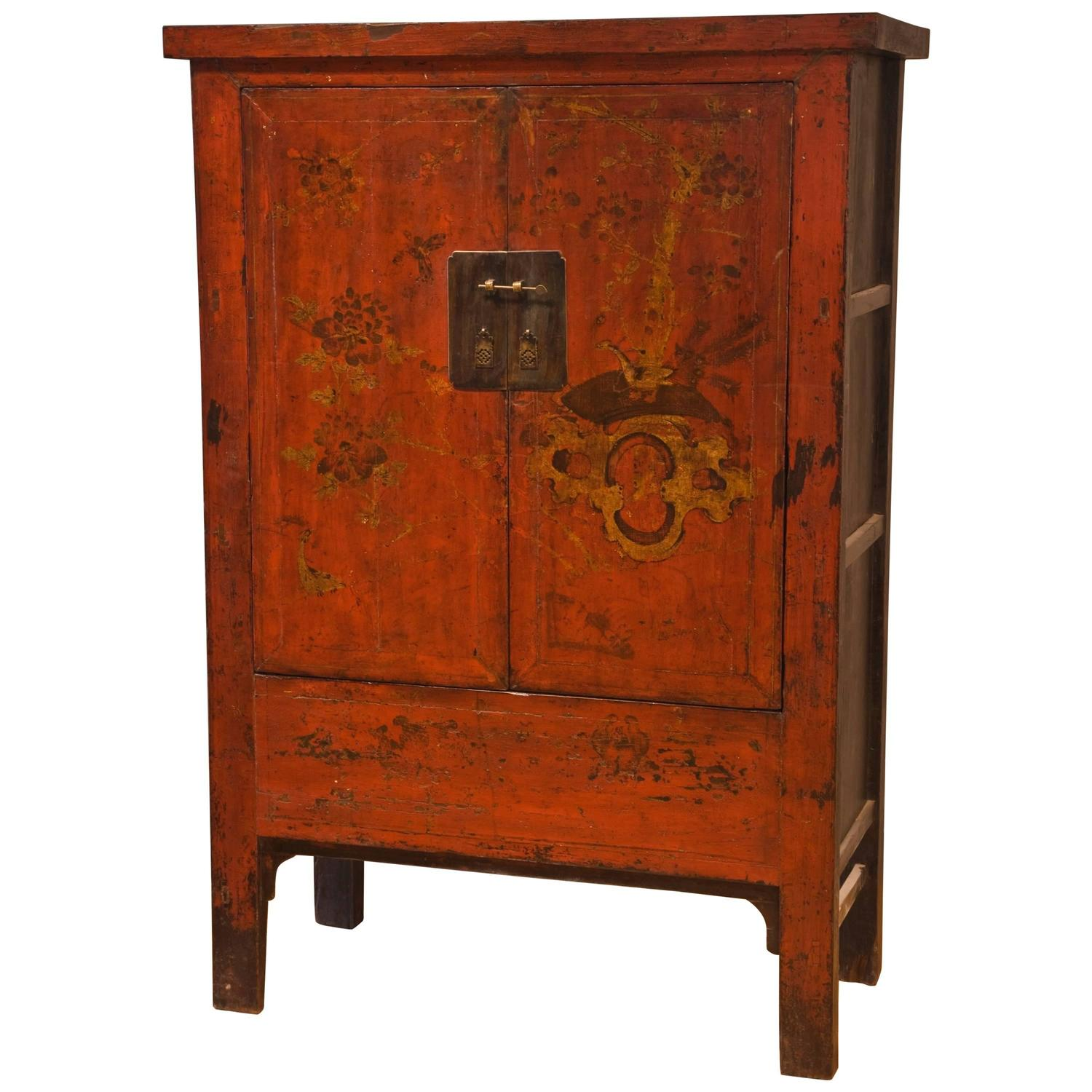 Antique Chinese Red Wedding Cabinet with Original Lacquer, Shanxi Province - Antique Asian Furniture - 1,874 For Sale At 1stdibs