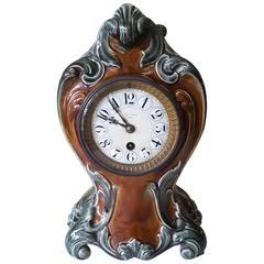 Art Nouveau French Majolica Clock, Paris, circa 1880-1900