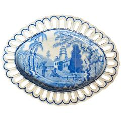 English Blue and White Chinoiserie Plate