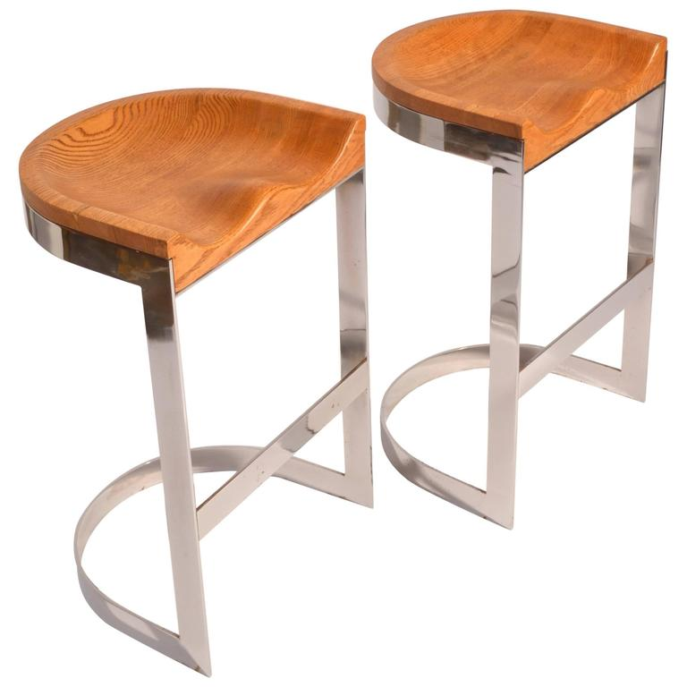 Pair of Oak and Chrome Counter Stools by Warren Bacon