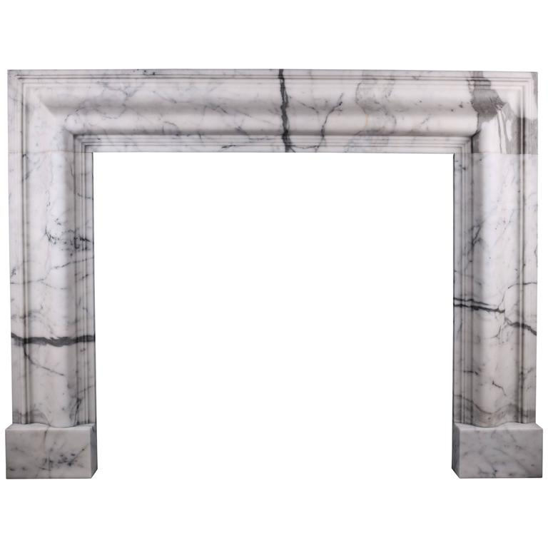 Queen Anne Style Bolection Fireplace in Italian Statuary Marble For Sale