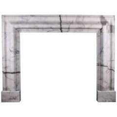 Queen Anne Style Bolection Fireplace in Italian Statuary Marble