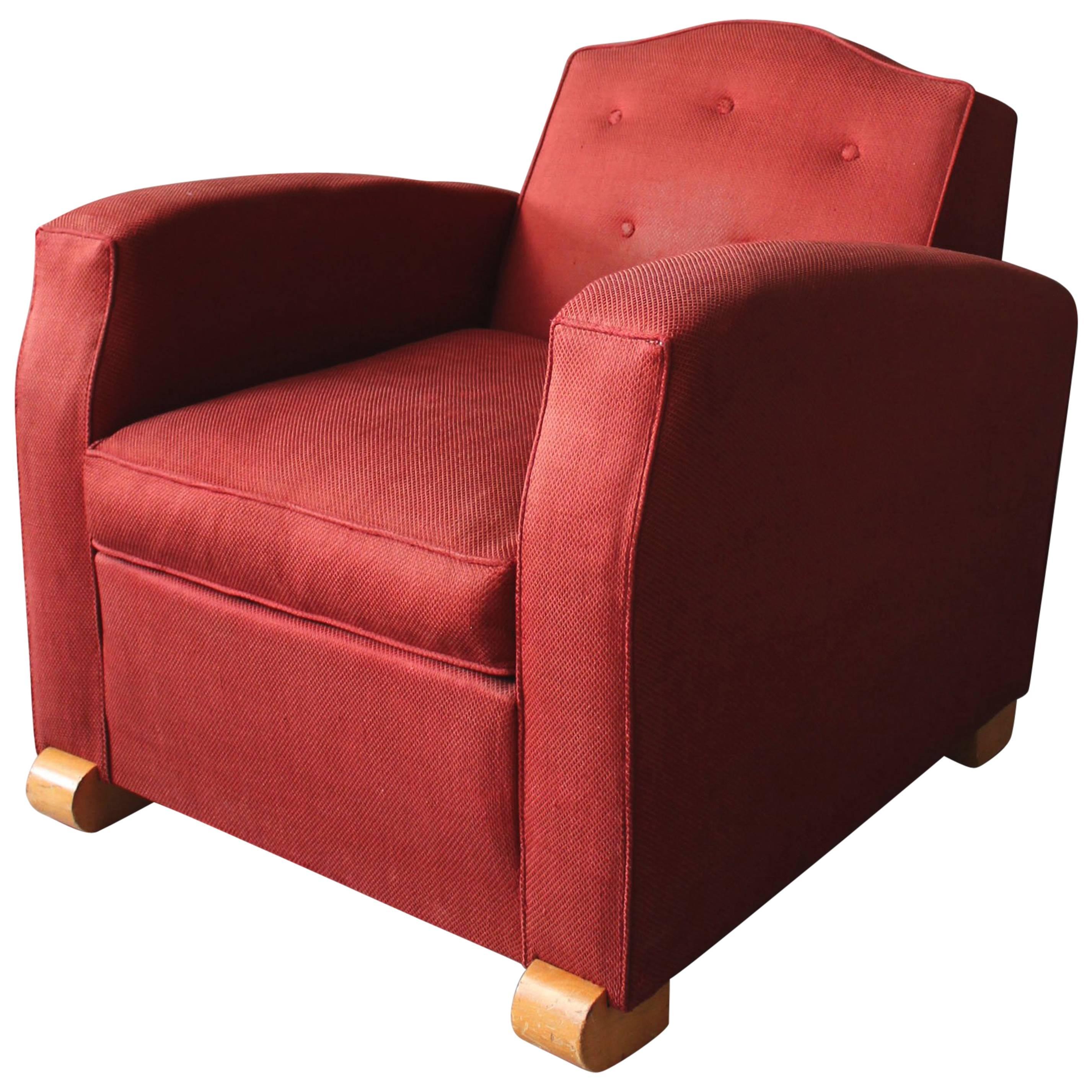 Fine French Art Deco Club Chair by Jules Leleu