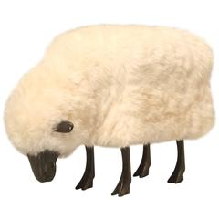Grazing Sheep in the Style of Lalanne in Solid Bronze with Real Fur