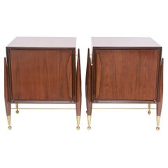 Pair Italian Modern Walnut and Bronze Bedside Tables, Melchiorre Bega, 1950's