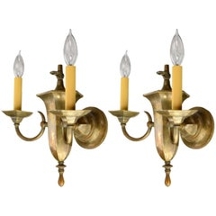 Two-Arm Gas-Electric Brass Sconce, circa 1900