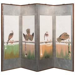 Hand-Painted Japanese Folding Screen Byobu Hawks Painting Watercolor Silver Leaf