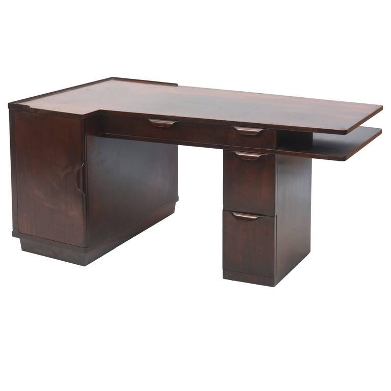 American Modern Dark Walnut Desk, Edward Wormley, Dunbar