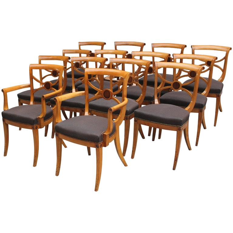 A Set of 14 Fine French Art Deco Chairs by Ernest Boiceau (12 side and 2 arm) For Sale