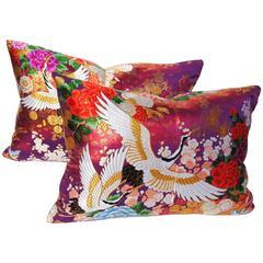 Custom Pillows Cut from a Vintage Silk Japanese Uchikake Wedding Kimono