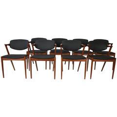 Set of Eight Kai Kristiansen #42 Dining Chairs in Teak