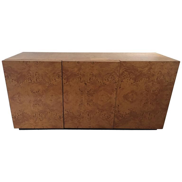Milo Baughman Attributed Burl Olive Wood Cabinet/Sideboard