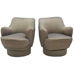 Early and Rare American Modern Pair of Barrel Swivel Chairs, Vladimir Kagan