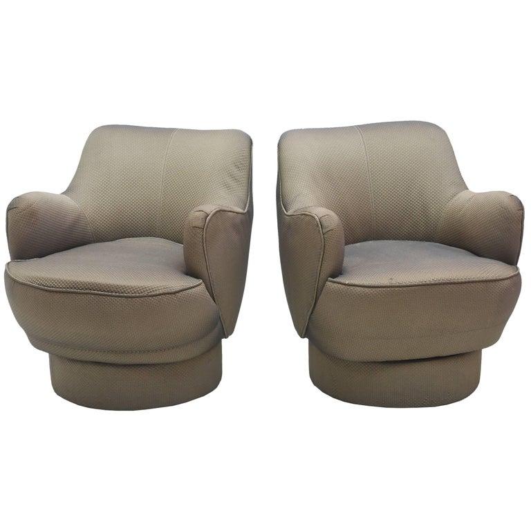 Sensational Early And Rare American Modern Pair Of Barrel Swivel Chairs Vladimir Kagan Theyellowbook Wood Chair Design Ideas Theyellowbookinfo