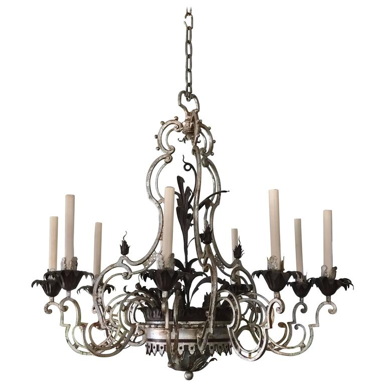 Wrought Iron Chandelier For Sale