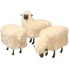 Lalanne Inspired Collection of 3  Sheep from Old Plank