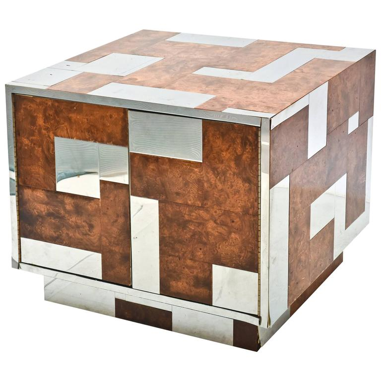 American Modern Burl Walnut and Chrome Two-Door Cabinet, Paul Evans