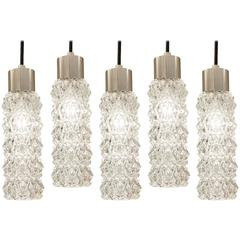 Chrome and Crystalline Faceted Pendant Lights
