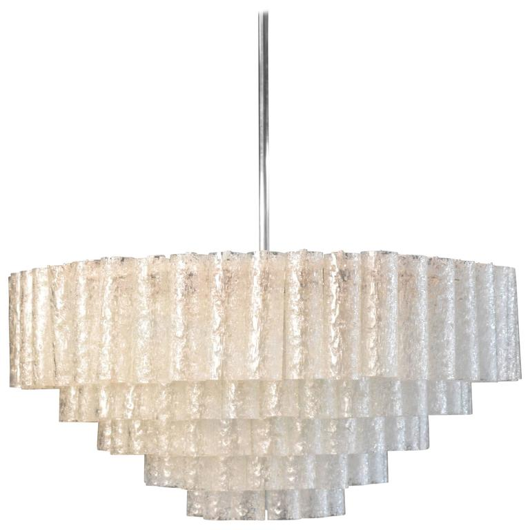Large Crystal Chandelier by Doria, circa 1960s with Murano Glass Tubes For Sale