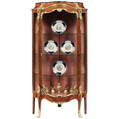 French 19th Century Corner Display Cabinet with Ormolu Mounts