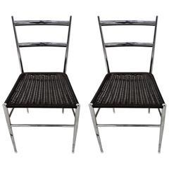 Pair Leggera Chrome Chairs By Gio Ponti, Bijenkorf, 1960s