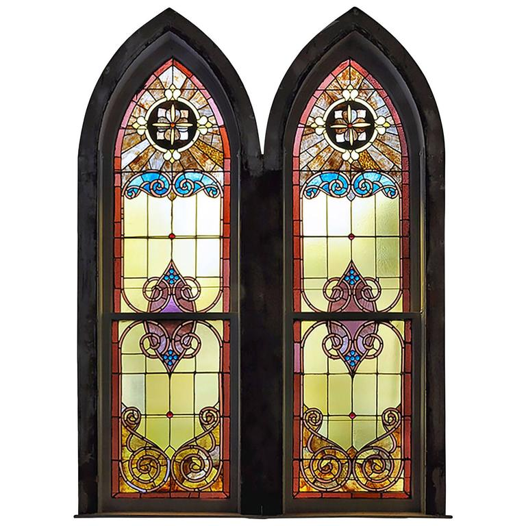Large Arched Stained Glass Church Window