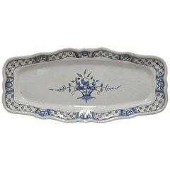 Large 19th Century French Blue and White Faience Platter from Rouen Normandy