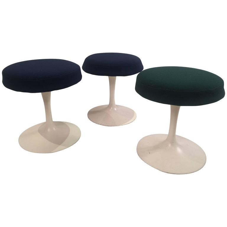 Eero Saarinen Tulip Stools for Knoll in Fabric