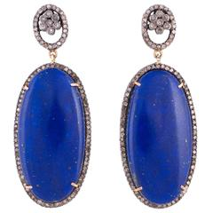 Lapis Lazuli Diamond Drop Earrings