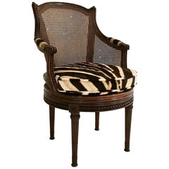 18th Century G. Jacob Mahogany and Cane Bergere Swivel Chair in Zebra Hide