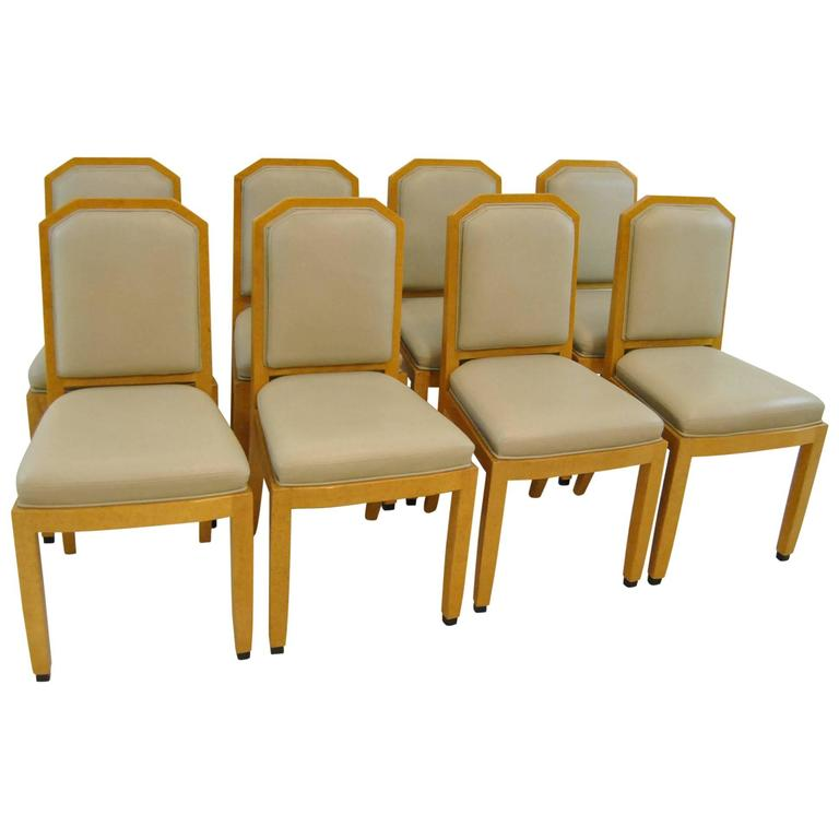 Set Of Eight Hand Carved And Painted Dining Room Chairs By William Switzer