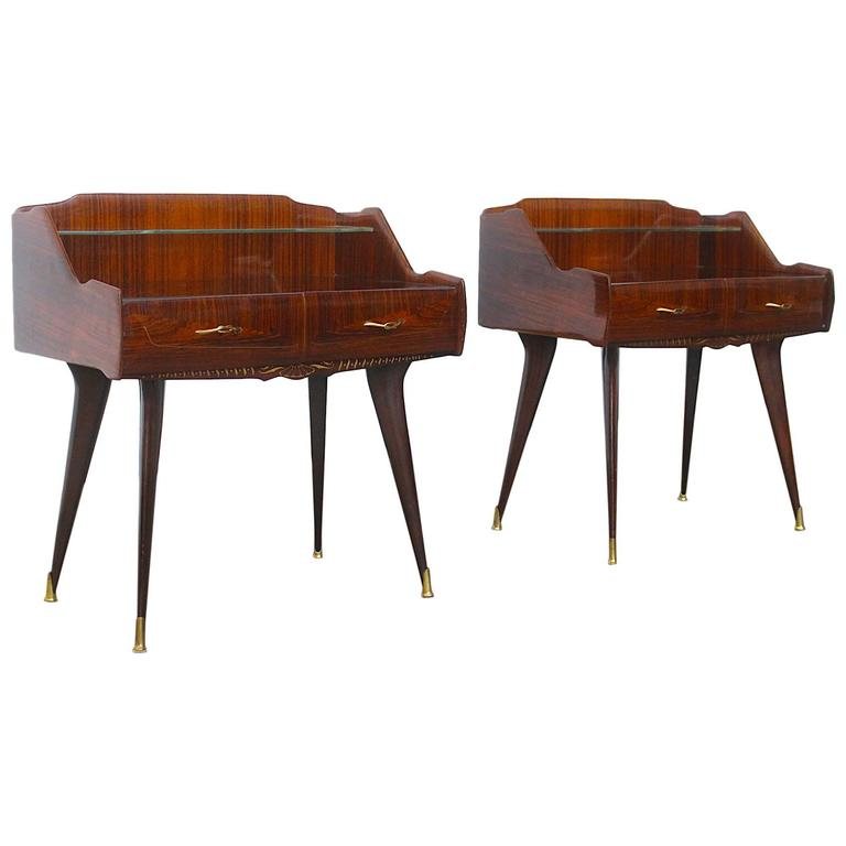 Paolo Buffa Style Pair of Stunning Italian Nightstands For Sale