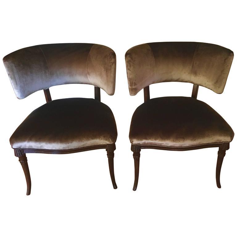 Pair of Grosfeld House Chairs in Belgian Velvet