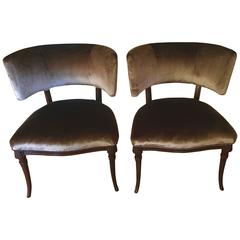 Pair of Grosfeld House Chairs in Belgian Velvet