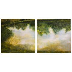 """Pond/Pond"" Painting by Katherine Bowling, circa 1989"
