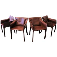 Gorgeous Russet Leather Armchairs by Matteo Grassi, Italy