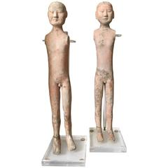 Two Rare Tomb Soldier Figures from the Han Dynasty, China, 206 BC