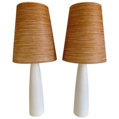 Mid-Century Modern Pair of Ceramic Lotte Lamps