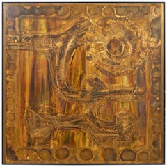 Acid-Etched and Oxidized Brass Panel by Bernhard Rohne, 1970s