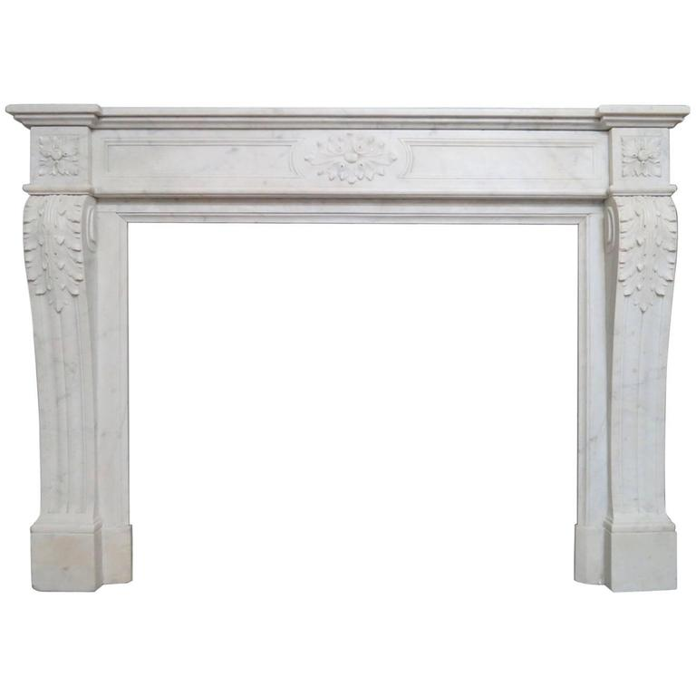 Antique Marble Louis XVI Style French Fireplace Mantel For Sale