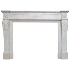 Antique Marble Louis XVI Style French Fireplace Mantel
