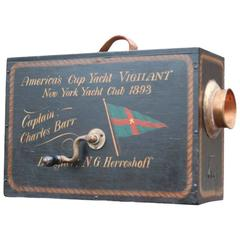 """Boxed Foghorn with Painted Decoration of """"Viligant"""""""