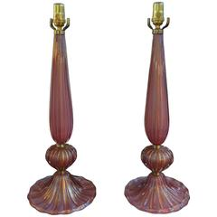 Pair of Italian Raspberry Colored Murano Glass Lamps, circa 1940