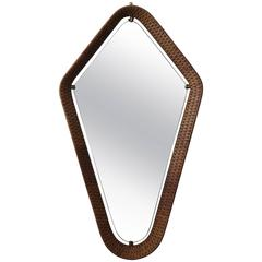 Unusual Italian Cane and Brass Mirror, circa 1950s