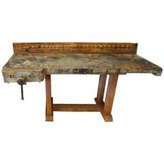 Butcher Block Woodworker's Table on Reclaimed Wooden Base, Late 1800s