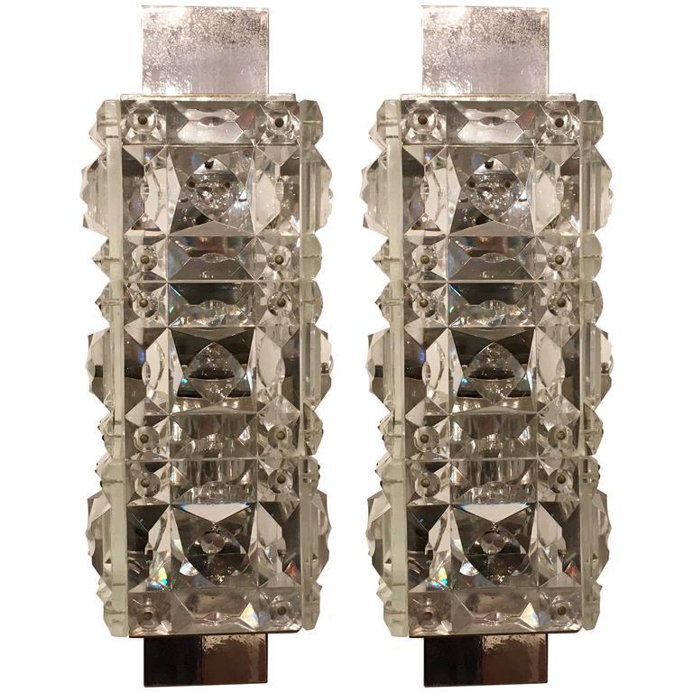 Pair of 1960s Austrian Crystal Kinkeldey Wall Lights For Sale